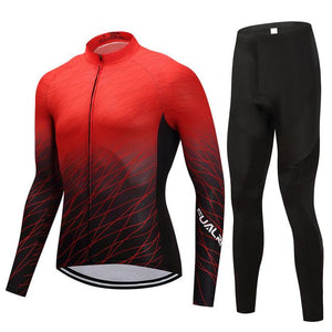 TrendyCycling Men's Jersey and pants / S / Red Red Matrix - Men's Long Sleeve Jersey Set