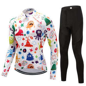 TrendyCycling Men's Jersey and pants / S / White Anime - Men's Thermal Jersey Set
