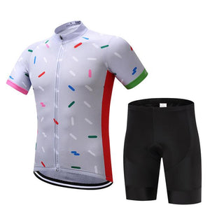 TrendyCycling Men's Jersey and pants / S / White Confetti - Men's Short Sleeve Jersey Set