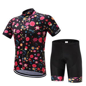 TrendyCycling Men's Jersey and pants / XS / Black Comic Flower - Men's Short Sleeve Jersey Set