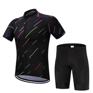TrendyCycling Men's Jersey and pants / XS / Black Night Stripe - Men's Short Sleeve Jersey Set