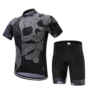 TrendyCycling Men's Jersey and pants / XS / Black Skull - Men's Short Sleeve Jersey Set
