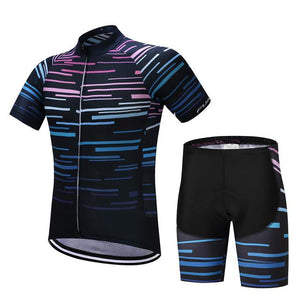 TrendyCycling Men's Jersey and pants / XS / Black Violet Strip - Men's Short Sleeve Jersey Set
