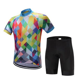 TrendyCycling Men's Jersey and pants / XS / Blue & Multi Color Diamond - Men's Short Sleeve Jersey Set
