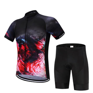 TrendyCycling Men's Jersey and pants / XS / Crimson Inferno - Men's Short Sleeve Jersey Set
