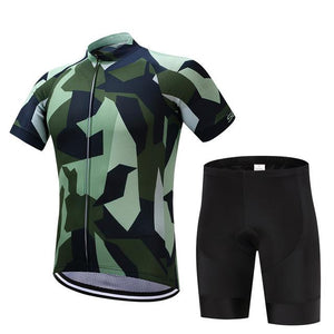 TrendyCycling Men's Jersey and pants / XS / Green/Camo Army Camo - Men's Short Sleeve Jersey Set