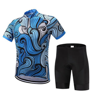 TrendyCycling Men's Jersey and pants / XS / RoyalBlue Sapphire Waves - Men's Short Sleeve Jersey Set