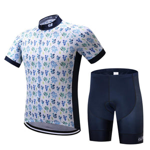 TrendyCycling Men's Jersey and pants / XS / White Petal - Men's Short Sleeve Jersey Set