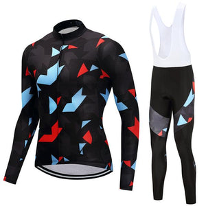 TrendyCycling Men's Jersey and white bib / 4XL / Black Onyx Jewel - Men's Thermal Jersey Set