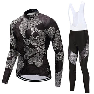 TrendyCycling Men's Jersey and white bib / 4XL / Black Skull - Men's Long Sleeve Jersey Set