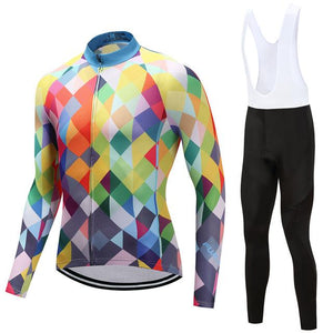 TrendyCycling Men's Jersey and white bib / 4XL / Blue & Multi Color Diamond - Men's Long Sleeve Jersey Set