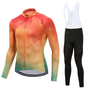 TrendyCycling Men's Jersey and white bib / 4XL / Coral Summertime - Men's Thermal Jersey Set
