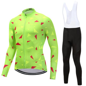 TrendyCycling Men's Jersey and white bib / 4XL / Lime Ascent Lime - Men's Long Sleeve Jersey Set