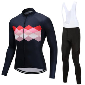 TrendyCycling Men's Jersey and white bib / 4XL / Navy Ciclismo - Men's Long Sleeve Jersey Set