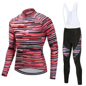 TrendyCycling Men's Jersey and white bib / 4XL / PaleVioletRed Rose Division - Men's Thermal Jersey Set