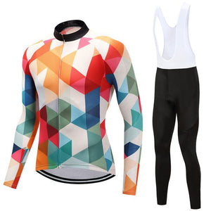 TrendyCycling Men's Jersey and white bib / 4XL / White Jewel - Men's Long Sleeve Jersey Set