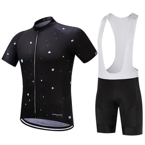 TrendyCycling Men's Jersey and white bib / S / Black Moons - Men's Short Sleeve Jersey Set