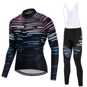TrendyCycling Men's Jersey and white bib / S / Black Violet Strip - Men's Long Sleeve Jersey Set