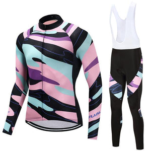 TrendyCycling Men's Jersey and white bib / S / LightPink Element - Men's Long Sleeve Jersey Set