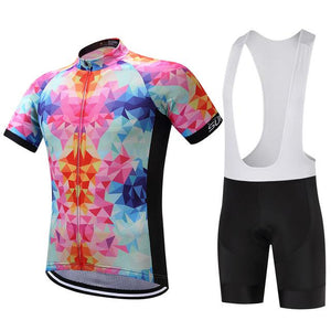 TrendyCycling Men's Jersey and white bib / S / LightPink Rainbow Balance - Men's Short Sleeve Jersey Set