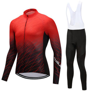 TrendyCycling Men's Jersey and white bib / S / Red Red Matrix - Men's Long Sleeve Jersey Set