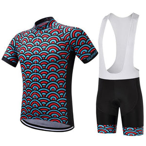 TrendyCycling Men's Jersey and white bib / S / SkyBlue Horizon - Men's Short Sleeve Jersey Set