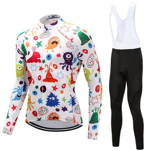 TrendyCycling Men's Jersey and white bib / S / White Anime - Men's Thermal Jersey Set