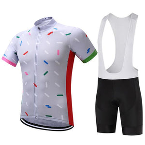 TrendyCycling Men's Jersey and white bib / S / White Confetti - Men's Short Sleeve Jersey Set