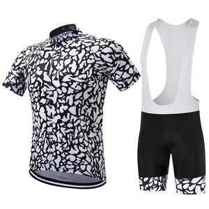 TrendyCycling Men's Jersey and white bib / S / White Patched - Men's Short Sleeve Jersey Set