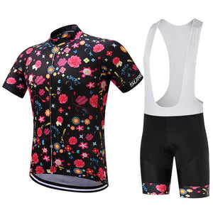 TrendyCycling Men's Jersey and white bib / XS / Black Comic Flower - Men's Short Sleeve Jersey Set