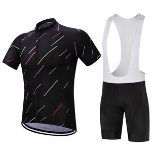 TrendyCycling Men's Jersey and white bib / XS / Black Night Stripe - Men's Short Sleeve Jersey Set
