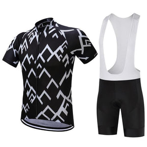 TrendyCycling Men's Jersey and white bib / XS / Black Peak - Men's Short Sleeve Jersey Set