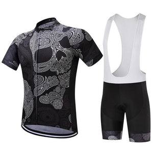 TrendyCycling Men's Jersey and white bib / XS / Black Skull - Men's Short Sleeve Jersey Set