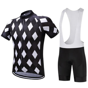 TrendyCycling Men's Jersey and white bib / XS / Black Solitaire - Men's Short Sleeve Jersey Set
