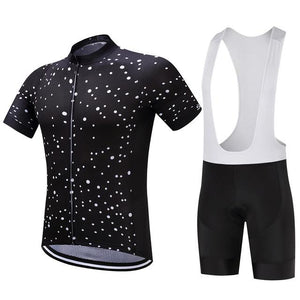 TrendyCycling Men's Jersey and white bib / XS / Black Space - Men's Short Sleeve Jersey Set