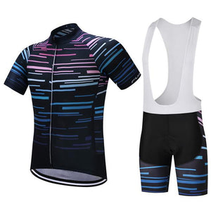 TrendyCycling Men's Jersey and white bib / XS / Black Violet Strip - Men's Short Sleeve Jersey Set