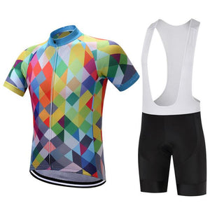 TrendyCycling Men's Jersey and white bib / XS / Blue & Multi Color Diamond - Men's Short Sleeve Jersey Set