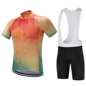 TrendyCycling Men's Jersey and white bib / XS / Coral Summertime - Men's Short Sleeve Jersey Set