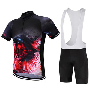 TrendyCycling Men's Jersey and white bib / XS / Crimson Inferno - Men's Short Sleeve Jersey Set