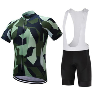 TrendyCycling Men's Jersey and white bib / XS / Green/Camo Army Camo - Men's Short Sleeve Jersey Set