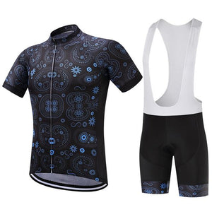 TrendyCycling Men's Jersey and white bib / XS / MidnightBlue Equilibrium - Men's Short Sleeve Jersey Set