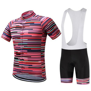 TrendyCycling Men's Jersey and white bib / XS / PaleVioletRed Rose Division - Men's Short Sleeve Jersey Set