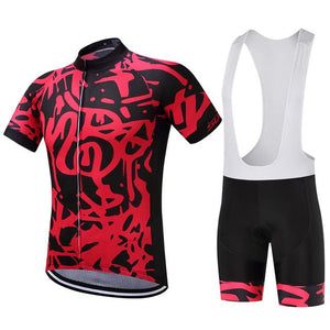 TrendyCycling Men's Jersey and white bib / XS / Red Graffiti - Men's Short Sleeve Jersey Set