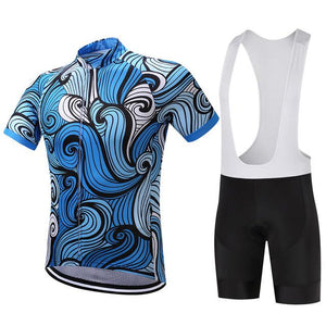 TrendyCycling Men's Jersey and white bib / XS / RoyalBlue Sapphire Waves - Men's Short Sleeve Jersey Set