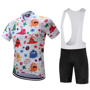 TrendyCycling Men's Jersey and white bib / XS / White Anime - Men's Short Sleeve Jersey Set