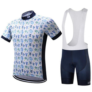 TrendyCycling Men's Jersey and white bib / XS / White Petal - Men's Short Sleeve Jersey Set