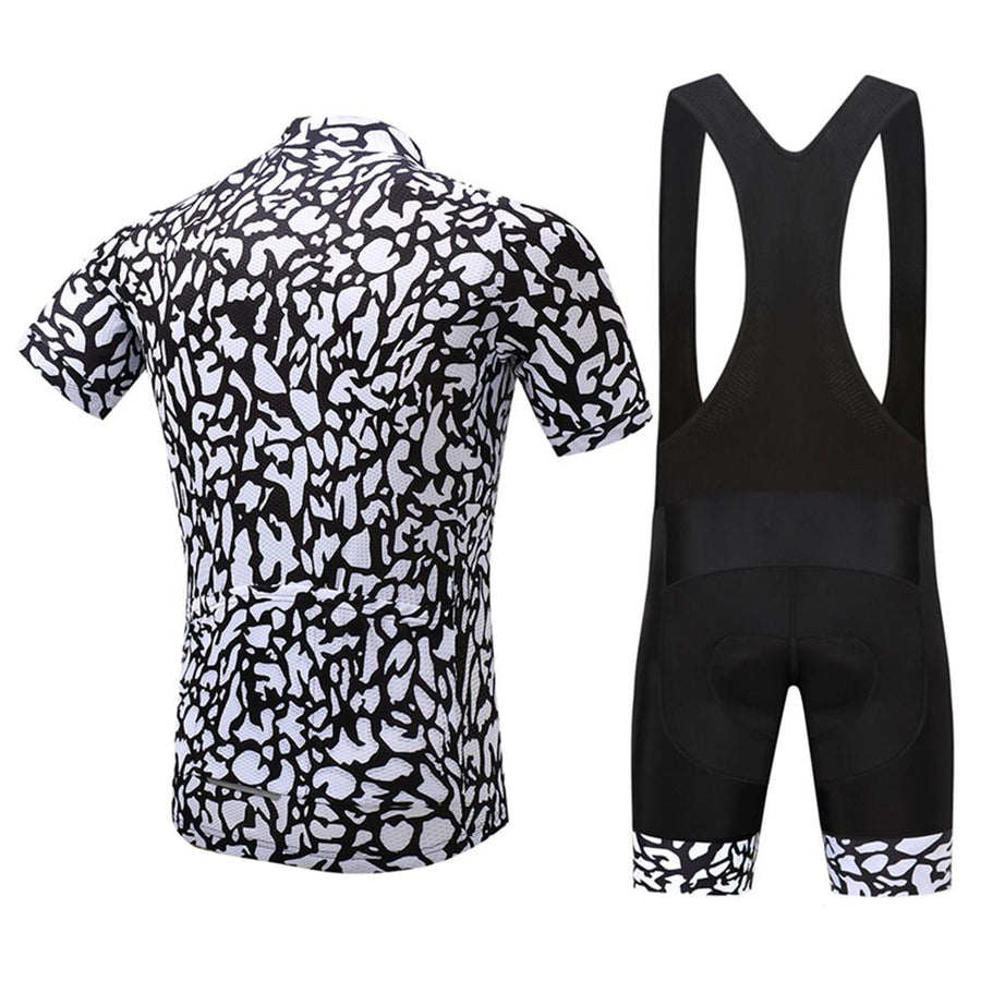 TrendyCycling Men's Jersey and black bib / S / White Patched - Men's Short Sleeve Jersey Set