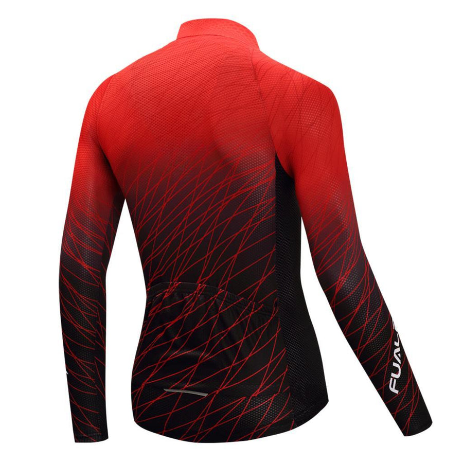 TrendyCycling Men's S / Red Red Matrix - Men's Long Sleeve Jersey