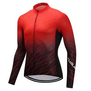 TrendyCycling Men's Red Matrix - Men's Long Sleeve Jersey Set