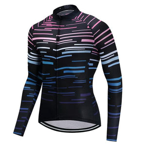 TrendyCycling Men's S / Black Violet Strip - Men's Long Sleeve Jersey